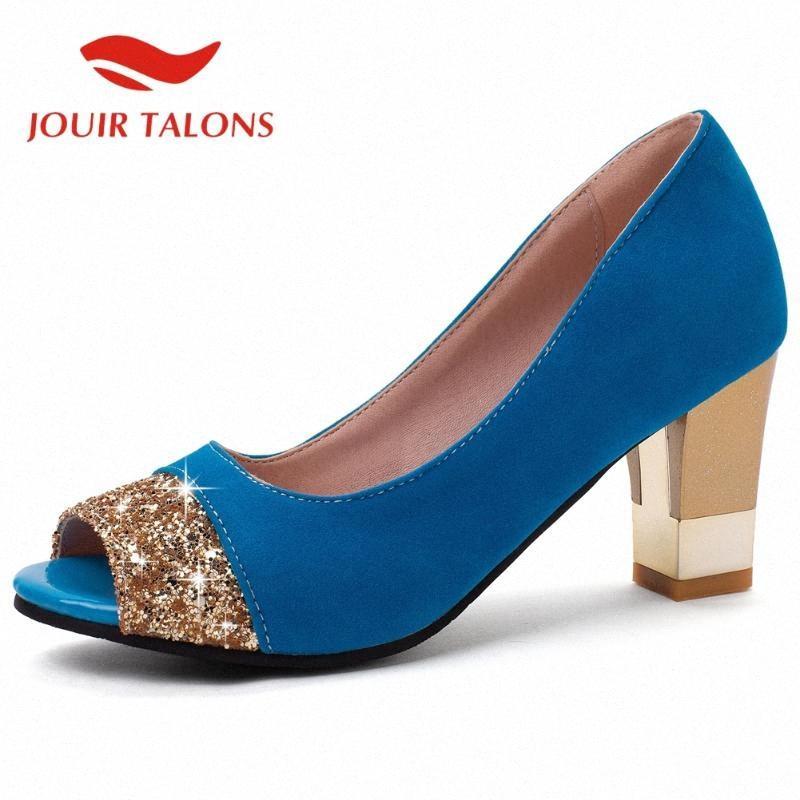 Zapatos de las mujeres Venta Nuevas Flock Plaza de alto deslizamiento talón en Bling ocasional de la manera de la venta caliente súper mujer tacones altos sandalias Tl2B #
