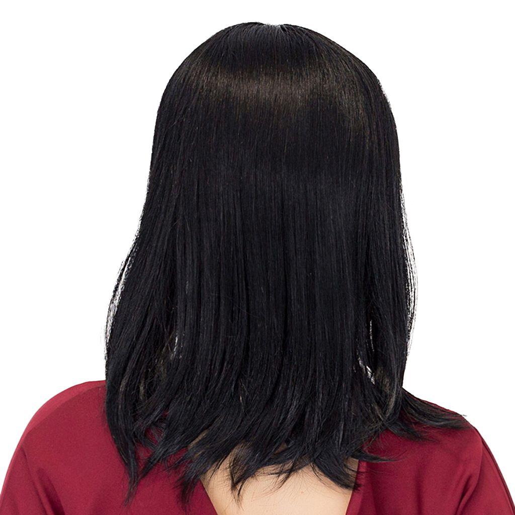 Schulter Länge kurze glatte Haare Perücken Black Natural Silky Toupets mit Flat Bangs Echthaar Perücke