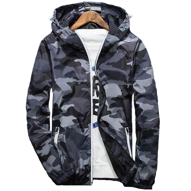 Весна куртка мужчина ветровка камуфляжа куртка мужской случайный капюшон светящейся молния 4xl стрит камуфляж пальто jaqueta masculina