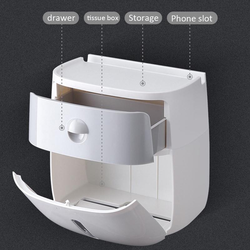 Porte-papier hygiénique étanche WC suspendu Tube Bac à papier rouleau de papier Boîte de rangement Plateau Tissue Box étagère Salle de bain Produit