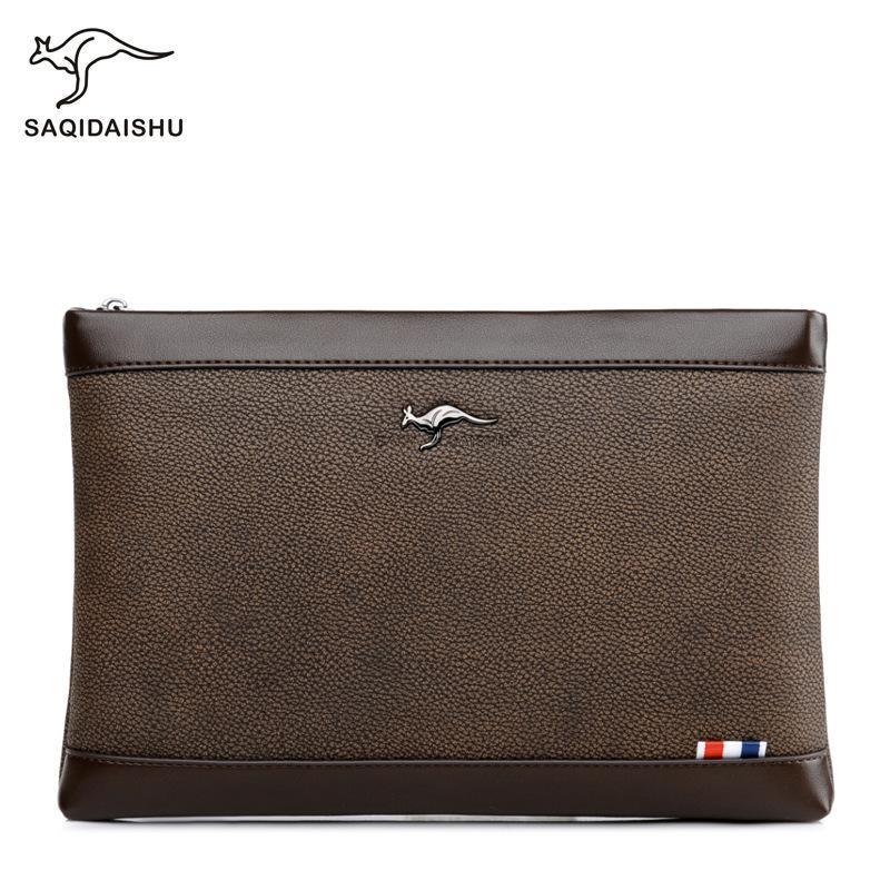 Новая мужская сумка большой емкости Мягкая сцепления Кожа сцепления Mens портфель