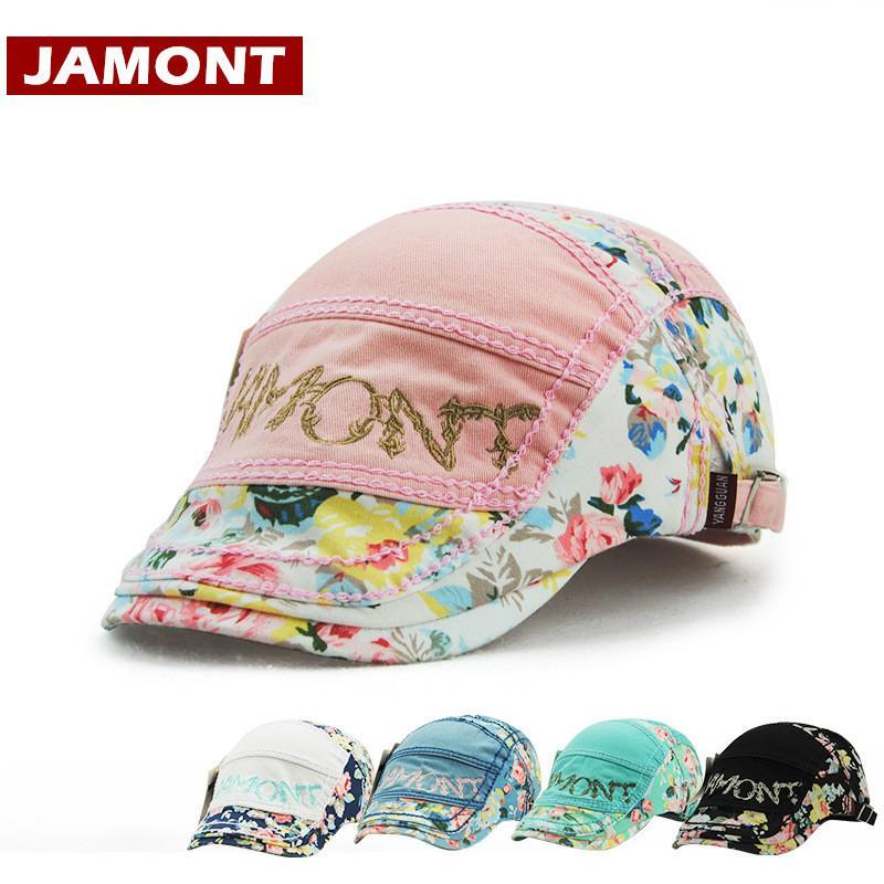 [Jamont] Print Cappelli delle donne Cappelli visiere Fashion Cap Beret cappello femminile del cappello di Sun Casquette ricamo del cotone piatte
