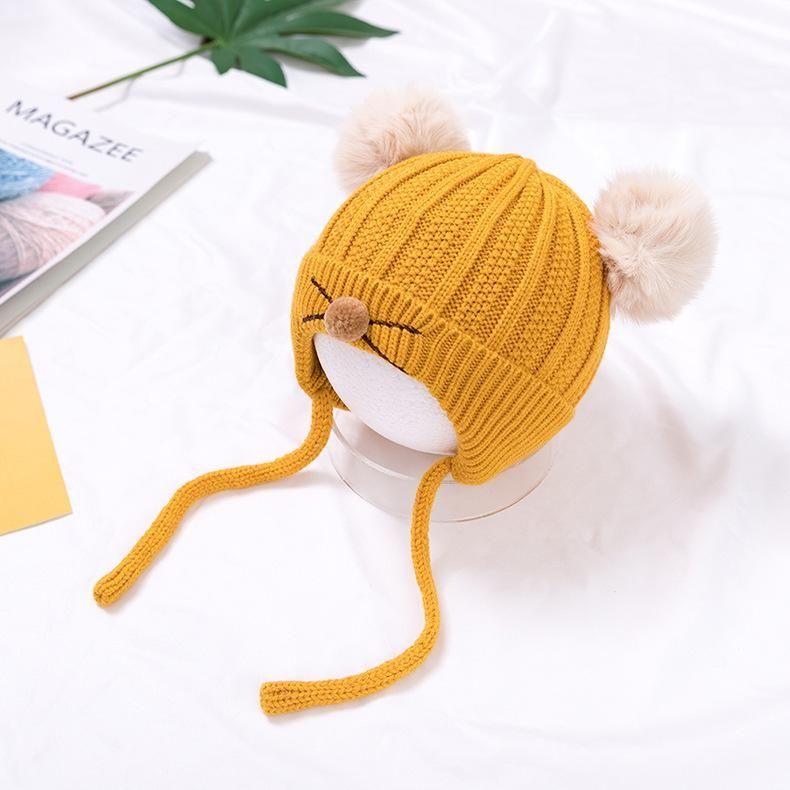 chapeau tricoté chaud épais pour les enfants grands yeux dessin animé automne nouveau bébé chapeau de bonnet