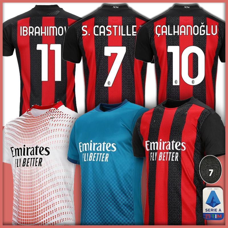 2020 2021 IBRAHIMOVIC TONALI AC Milan Fußball-Trikot Lukaku Mann Kinder Kit REBIC Bennacer THEO Fußballhemden Camisa