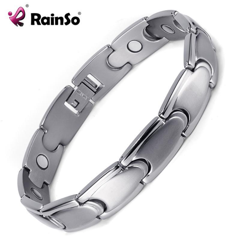 Bracelets de charme Rainso Soins de santé à la mode Titanium magnétique bracelets pour hommes Bio Energy Healing Hologram Hologramme Chaîne de chaîne