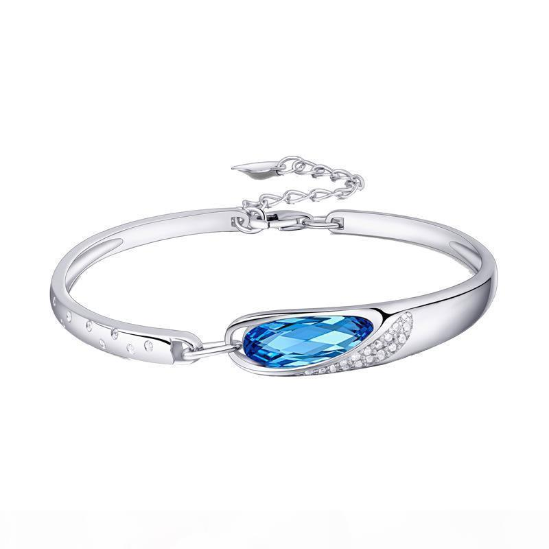 2020 Classic Fashion Austrian Crystal Blue Glass Slippers Adjustable Sterling Silver Bracelet Bracelet Female Muse's Eye