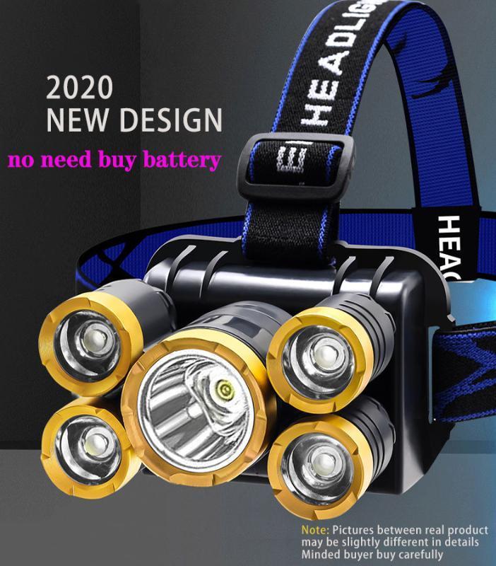 Rechareable Far 4 Modları 5 led kafa lambası şarj edilebilir Yakınlaştırma Süper parlak kamp led kafa Lanterna recahrgeable 18650 pil