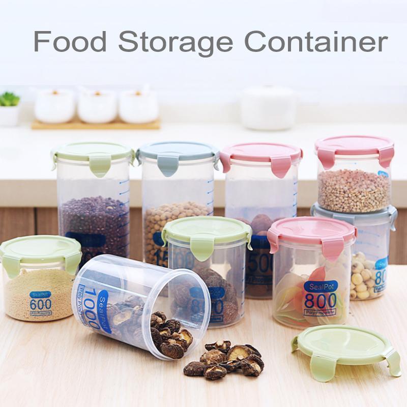 800ml alimentaire en plastique transparent Conteneur Cuisine Garde-manger Organisation Conteneurs en plastique étanche à l'air pour les céréales Canister fruits secs