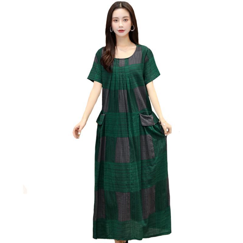 Plus Size Vestido Elegante manga curta linho vestido do verão do vintage com bolsos O-Neck soltas Casual Summer Long Mulheres Roupa