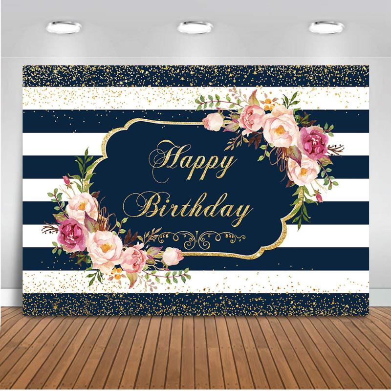 Neoback Happy Birthday Backdrop for Photography White and Stripe Background for Photo Party Decoration Supplies Newborn Baby