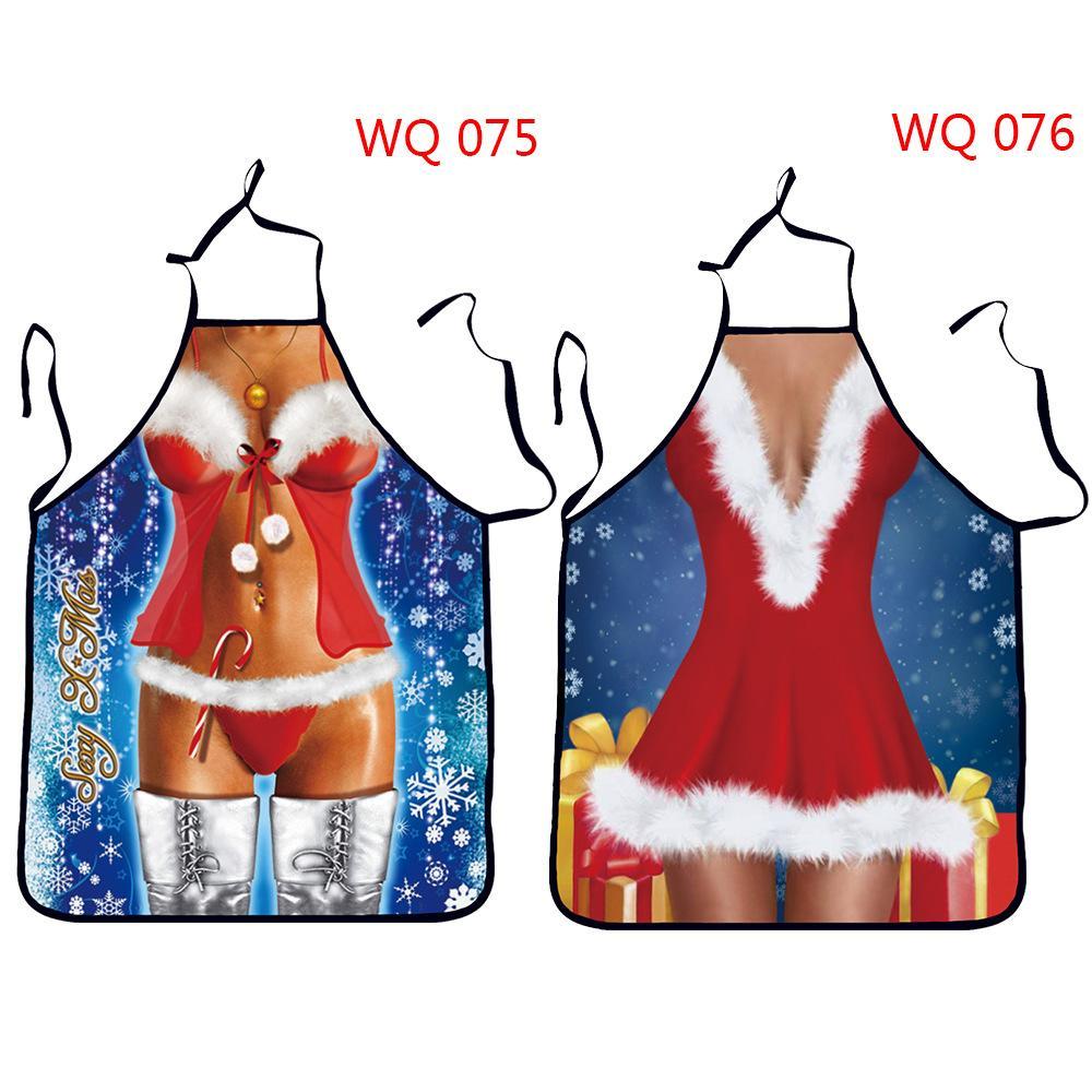 Impermeable para Cocina Apronnew estilo de la mujer atractiva delantal de Navidad Decoraciones de Navidad delantal