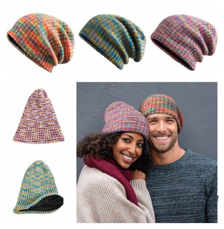 Femmes Hommes d'hiver Casquettes Bonnet / crâne amants couple tricoté chaud épais Fleece bonnet de laine hip-hop intérieur pour adultes