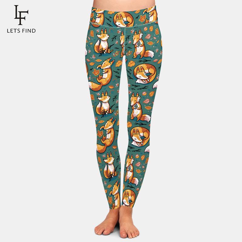 New 3D Digital Printing Fox Leggings High Waist Elastic Trousers Fashion Plus Size Leggings Casual Legging for Women 200918