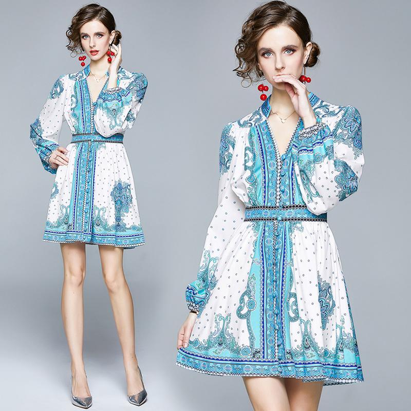 2020 Sonbahar Pist Sarayı Stil Totem Baskı Kadınlar Mini Gömlek Elbise Kadınlar Bayanlar Moda V-Yaka Düğmesi Ön Uzun Kollu dizayn edilmiş elbiseler
