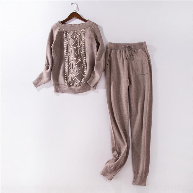 Cuello redondo con cuentas moldeado hermoso jersey de punto Deportes conjunto de jersey de punto pantalones de lana de dos piezas JqESX