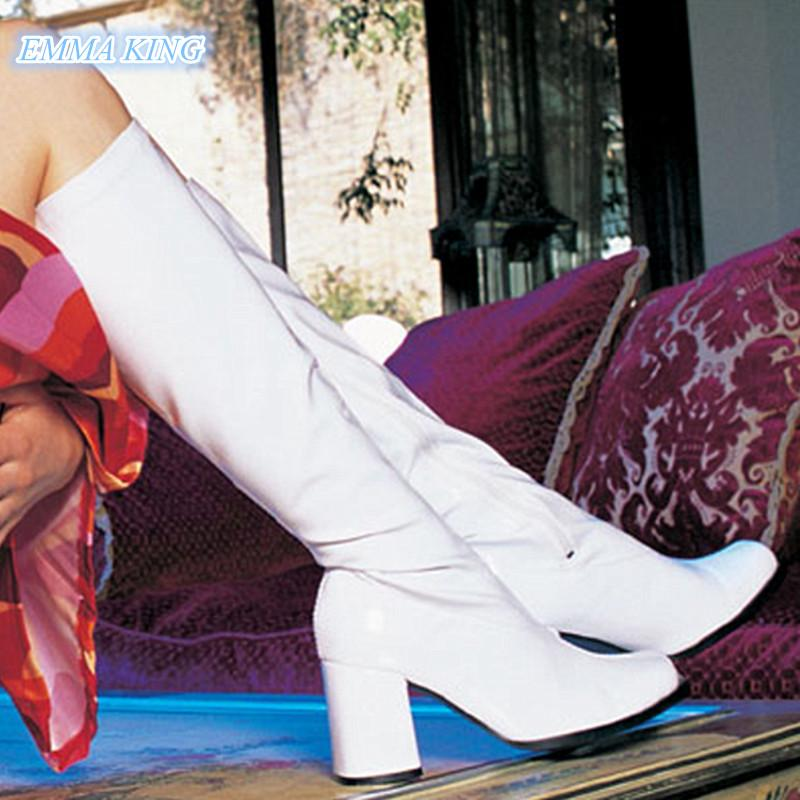 2020 Осень Зима Сексуальные женщины Белый квадрат Toe колено высокие сапоги Коренастый High Heels лакированной кожи Мода Side Zipper Женская обувь