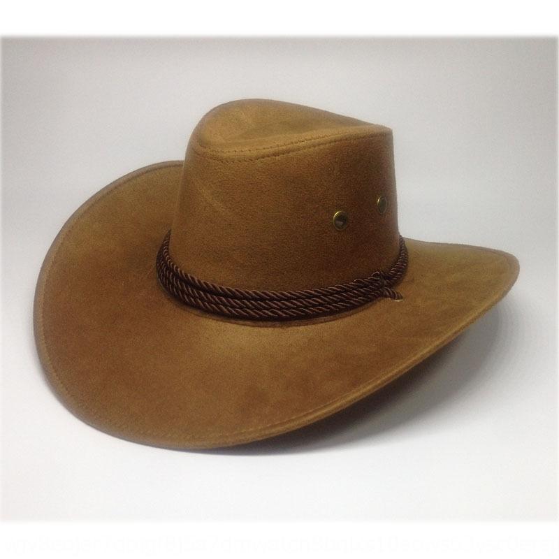 SMkGW Популярная западная американские джинсовые замшевые открытые солнечные мужские верхом искусственной кожи больших ковбойские шляпы ковбойские шляпы карнизов