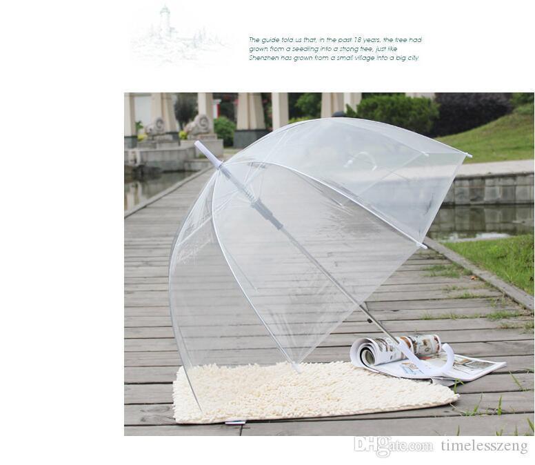 2020 Fashion Semi Automatico frangivento Mini portatile trasparente semplice bianco 25 pollici Ombrello Gossip Girl funghi