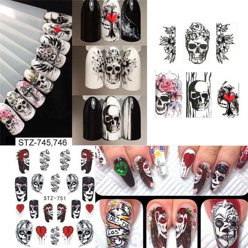 Halloween trasferimento adesivi per unghie acqua decalcomanie di arte chiodi decorazioni strumenti per manicure zucca cranio disegno 25 stili