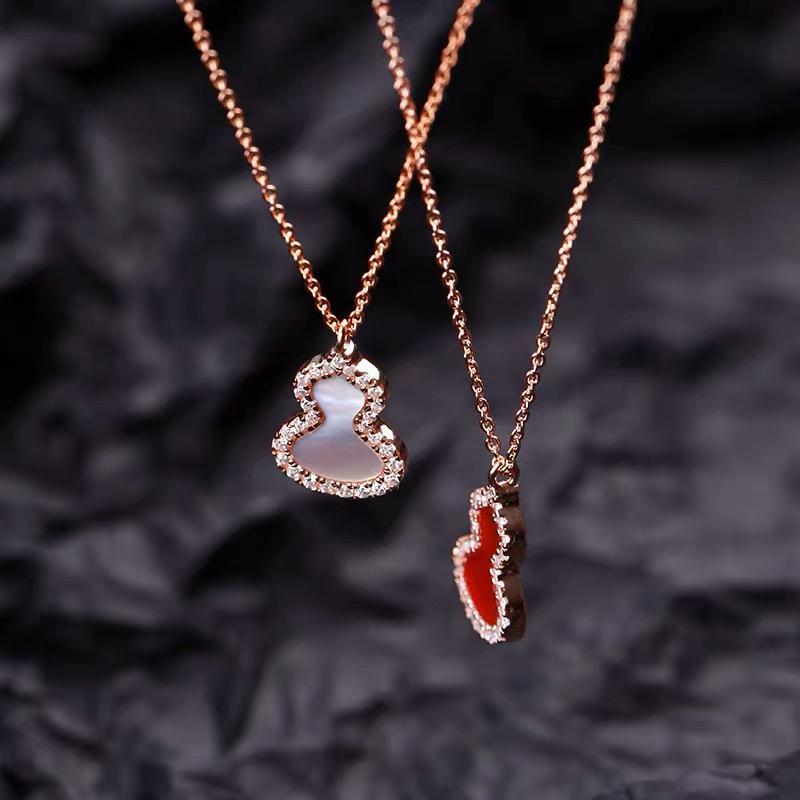 ЮН Руо Удачный Циркон кальян ожерелье розового золота титана стали ювелирные изделия женщина подарков не меняют цвет Drop Доставка