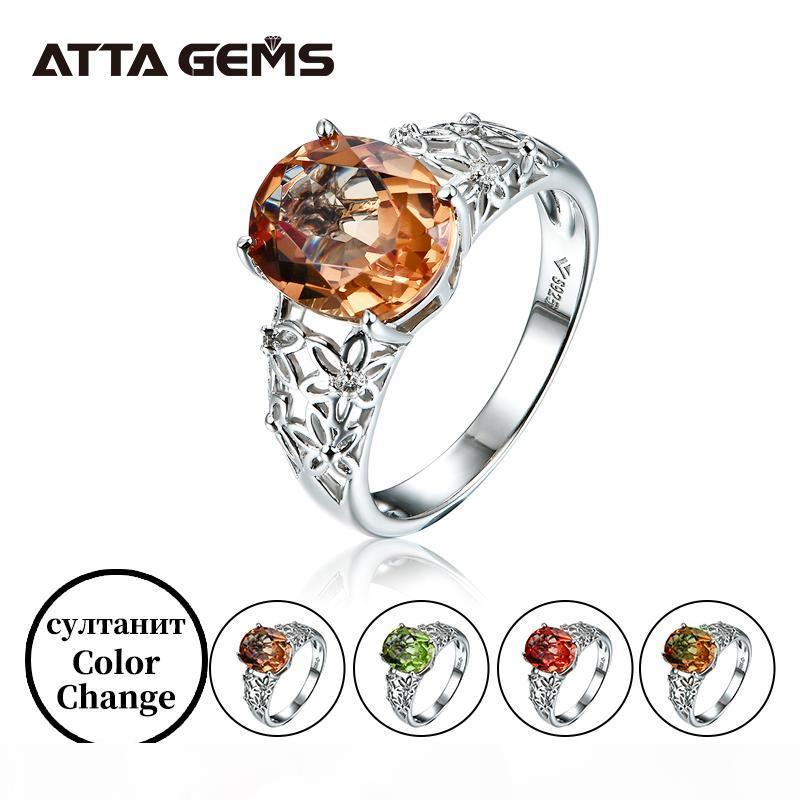 Diaspore anello d'argento donne anello di cerimonia nuziale di disegno speciale 6 Carati creato diasporo anello d'argento di colore fidanzamento Changed pietra LY191226