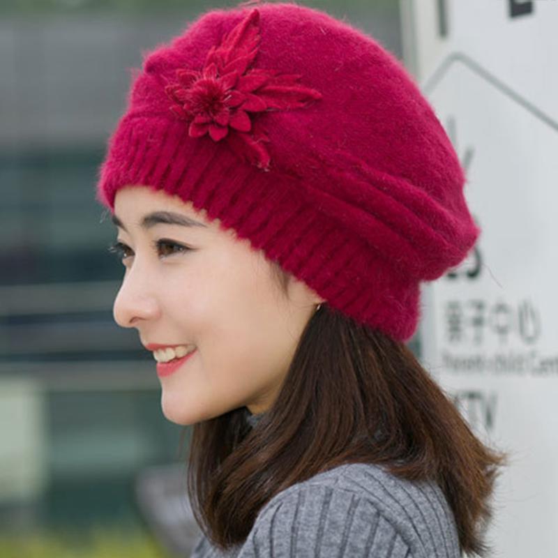 Sombrero de otoño invierno de color sólido maravillosa manera de las mujeres señoras de la flor de punto de ganchillo Beanie Hat Mantener caliente del casquillo de la boina Mujer