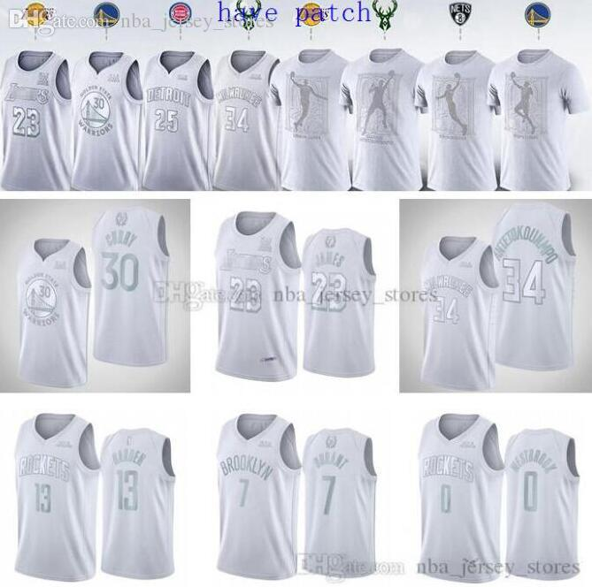 Lakers de baloncesto de 2020 hombres del jerseydólaresguerreroscohetesJamesCurry Durant Westbrook Harden MVP camiseta blanca