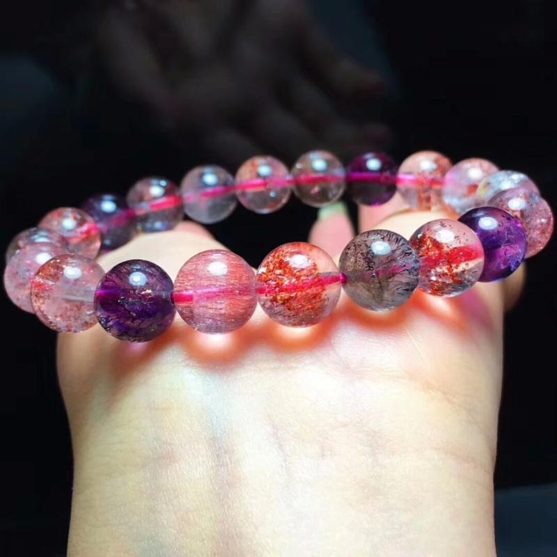 Natural Super 7 Seven lépidocrocite Quartz rutile extensible 9.5mm Melody Pierre Man guérison perles Bracelets certificat