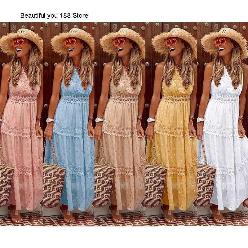 Casual Dresses Women's Summer Sexy Deep V Sleeveless Chiffon Dress Stitching Medium-length