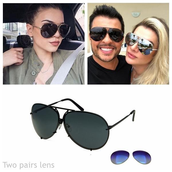 las mujeres de moda de diseñadores eoome y hombres de gran tamaño piloto forma de sol de cristal cambiable de dos juntas Caja del espejo de la lente Con Free