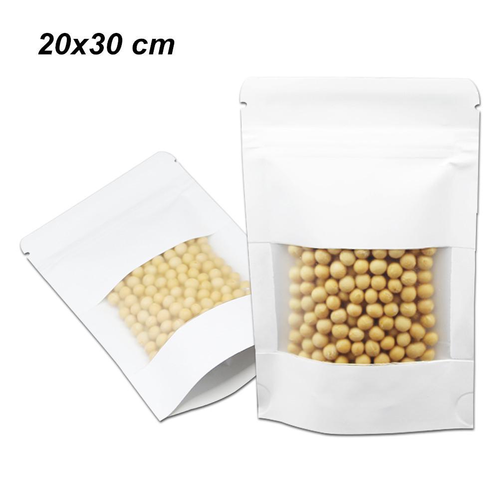 20x30cm White Clear Janela Resealable Doypack armazenamento Pouches embalagem para Snacks secos e porcas suporte para papel Kraft Up Zipper fechamento de embalagem Bag