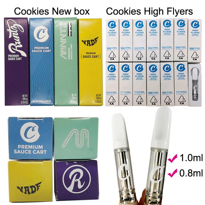 Cookies High Flyers Vape картриджи 1мл 0,8 мл Стеклянный бак Слейте Vape Pen Премиум Соус Тележки 510 Масло Картриджи Vape Упаковка коробки Ecigs
