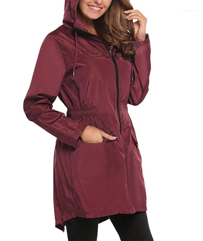 Zíper e bolso Womens Jacket Designer mulher pano cordão com capuz elástico na cintura Trench Coats Moda Sólidos Com