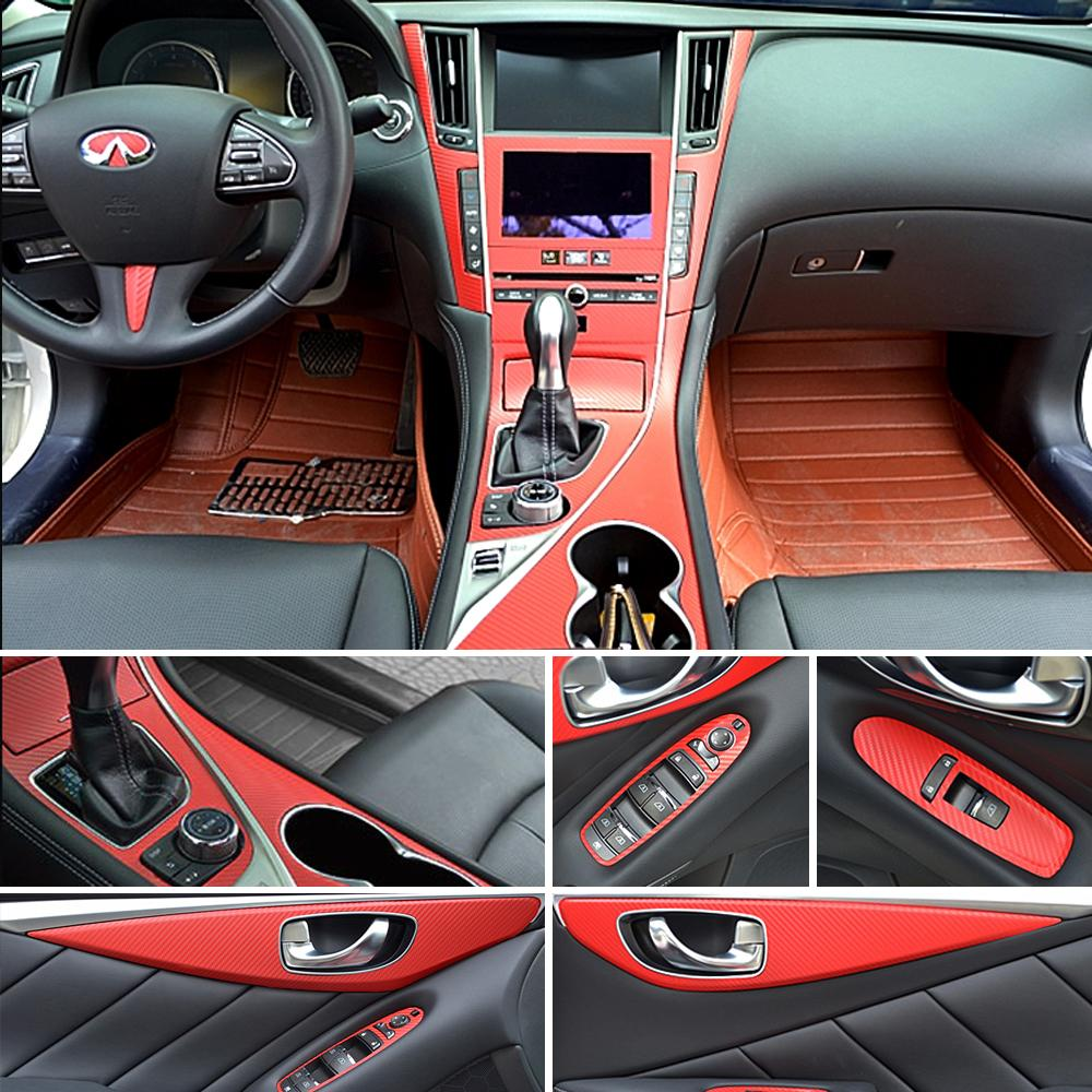 For Infiniti Q50 Q60 2014-2018 Self Adhesive Car Stickers Carbon Fiber Vinyl Car stickers and Decals Car Styling Accessories