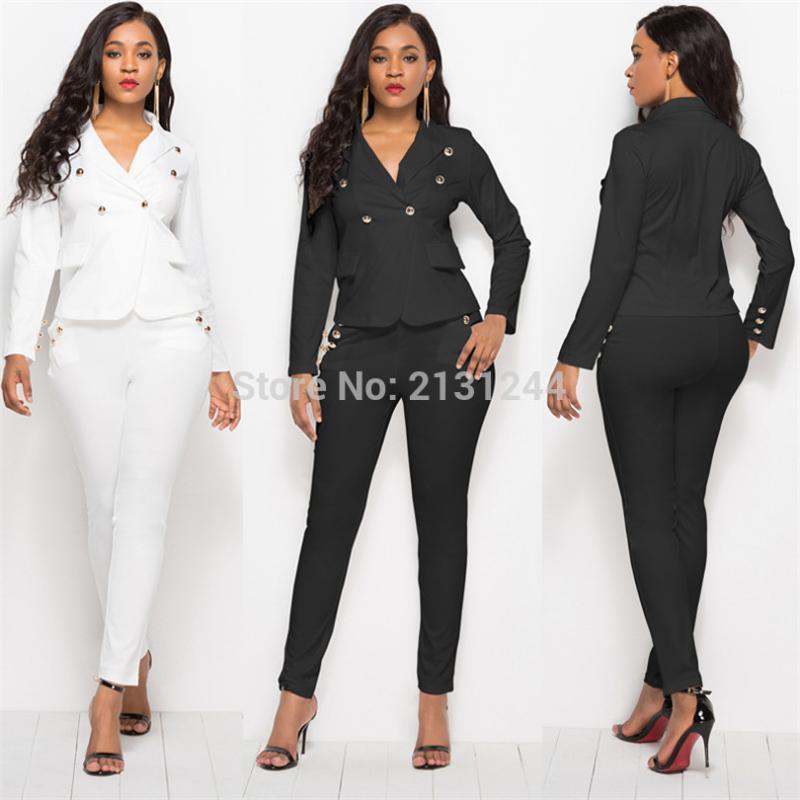 2020 Nouveau couleure Pantalon d'affaires de haute qualité Set Blazers Femmes formelles élégantes Plaid Ensemble 2 pièces Vestes, Uniforme
