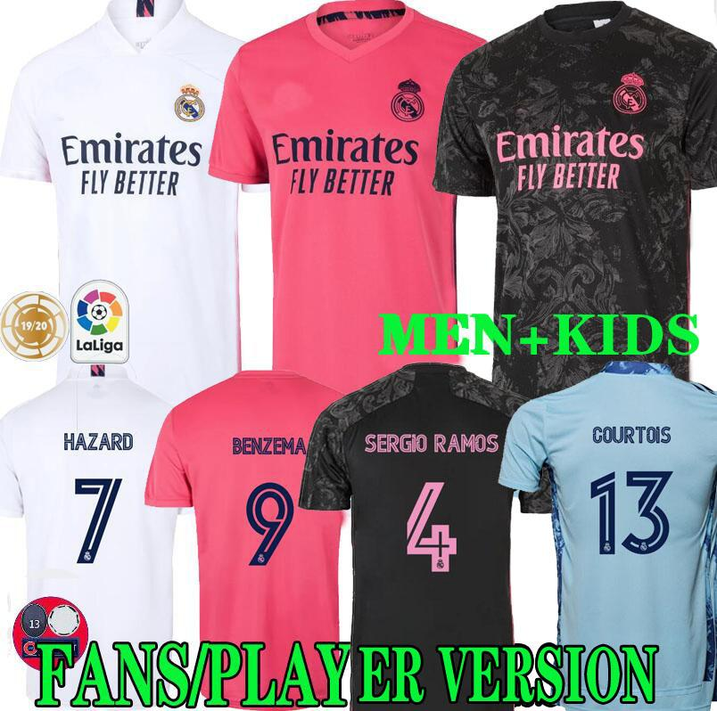 20 21 maillots de football REAL MADRID TROISIÈME BENZEMA RISQUE SERGIO RAMOS CITP chemises football camiseta uniformes hommes kit enfants FANS VERSION PLAYER