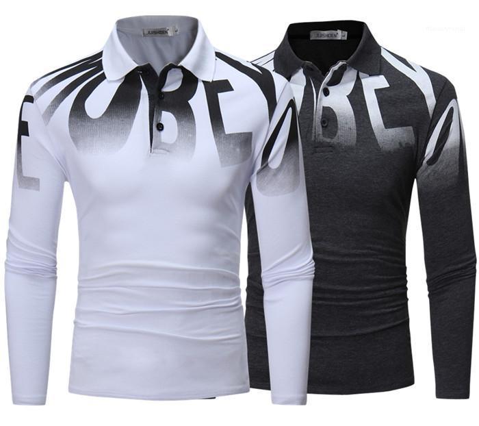 Langarm-T-Shirts beiläufigen Art und Weise Mens-Kleidungs-Herbst dünne Männer Designer Polos Letter-Muster mit V-Ausschnitt