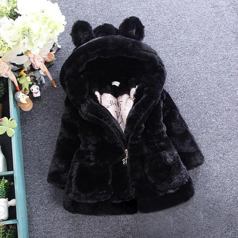Mädchen Wintermantel 1-7 Jahre alten Mädchen Winter Parkas heiß mit Kapuze Volltonfarbe große Tasche Pullover Webpelz Watte große Ohren Y200831