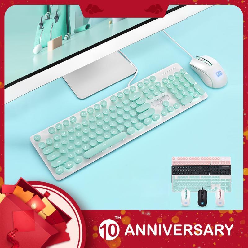 KIITO K8 Punk Wired Keyboard Mouse Set Redonda Key Cap Para PC Computer Elegante Mecânica textura Gaming Mouse E Set Keyboard