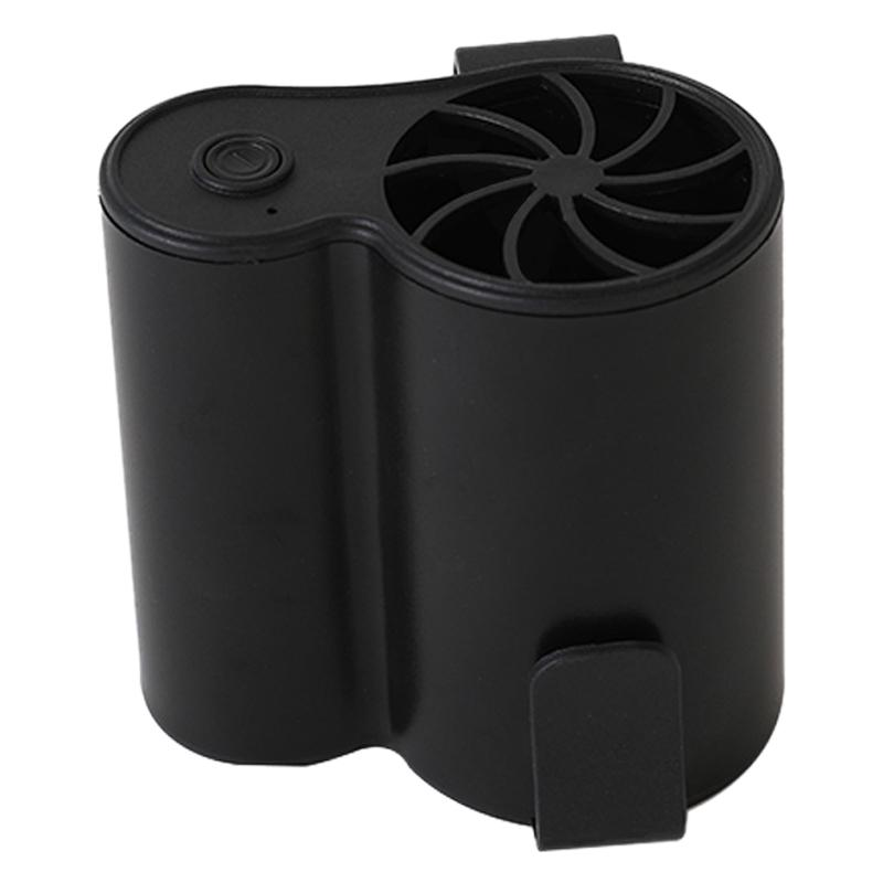 Mobile Air Conditioning Cooler USB Waist Fan Portable Mini Fan Black for Outdoor Hanging Waist with Ice Face Towel