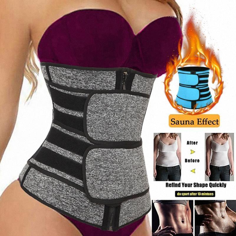 Las mujeres que adelgaza la cintura Trainer vaina de la panza La reducción de las talladoras del vientre Fajas sudor del cuerpo de la talladora del corsé de entrenamiento Sauna Trimmer Cinturones VuYN #