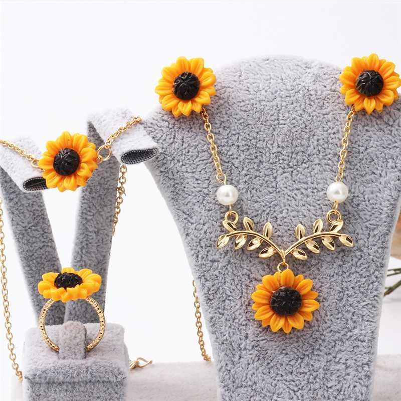 Mode Fleur émail Ensemble de bijoux Peinture jaune couleur or rose Bijoux de mariée pour les femmes mariage