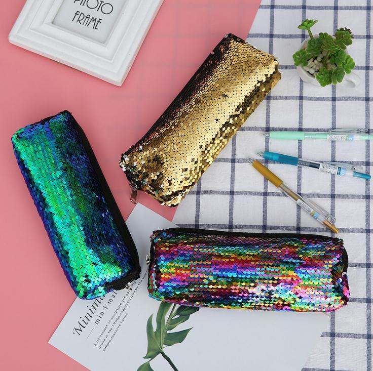 Nuevas mujeres forman la lentejuela de la pluma de mano 6 colores de maquillaje del brillo bolsa reversible lentejuelas bolsa de cosméticos de maquillaje de la bolsa de almacenamiento Bolsas de lápiz SN4703
