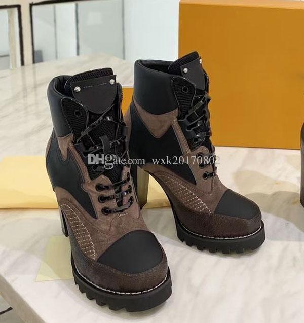 2020 Herbst Winter Martin Boots Designer Luxus Frauen Schuhe Brief Wildleder High Heeled Boots Metall Mode Damen Kurzstiefel Große Größe 35-41
