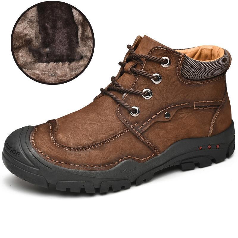 Haute qualité Bottes homme véritable homme Chaussures en cuir de fourrure chaud Bottes de neige lacées antidérapante cheville Botas Hombre Taille Plus 46 Zapatos