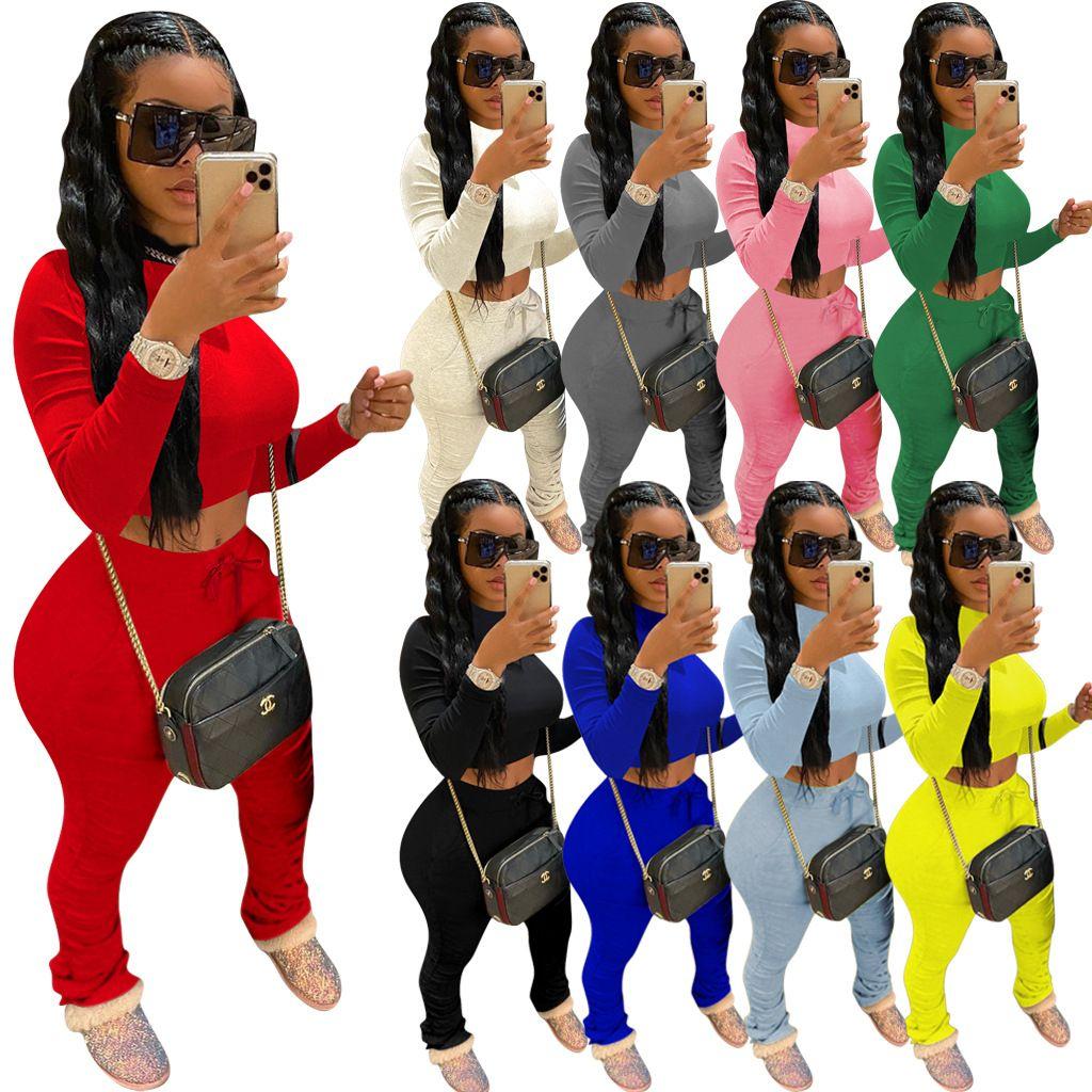 2020 Frauen 2-teiliges Set Anzug Fashion Solid Color Langarm-T-Shirt Spitze Plissee Hose Sport Outfits Damen Plus Größe beiläufige Klage