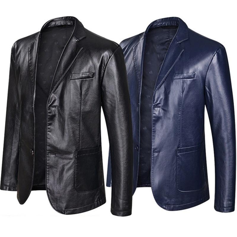 Homens Couro Casual Jacket Blazer Moda solto lapela Couro Terno Plus Size Tops Preto Azul Masculino