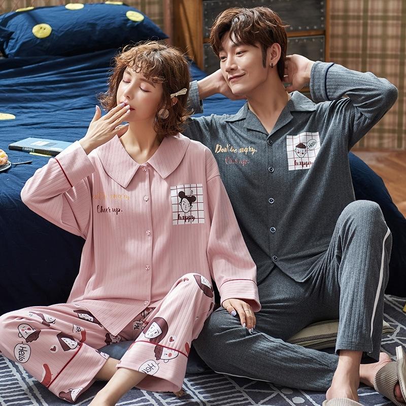 RrGgI asO8P и пижама хлопок pajamastwo части с длинными рукавами весной Пара осенью мужчины могут носить пижаму свободных студент досуга домашней одежды Wo