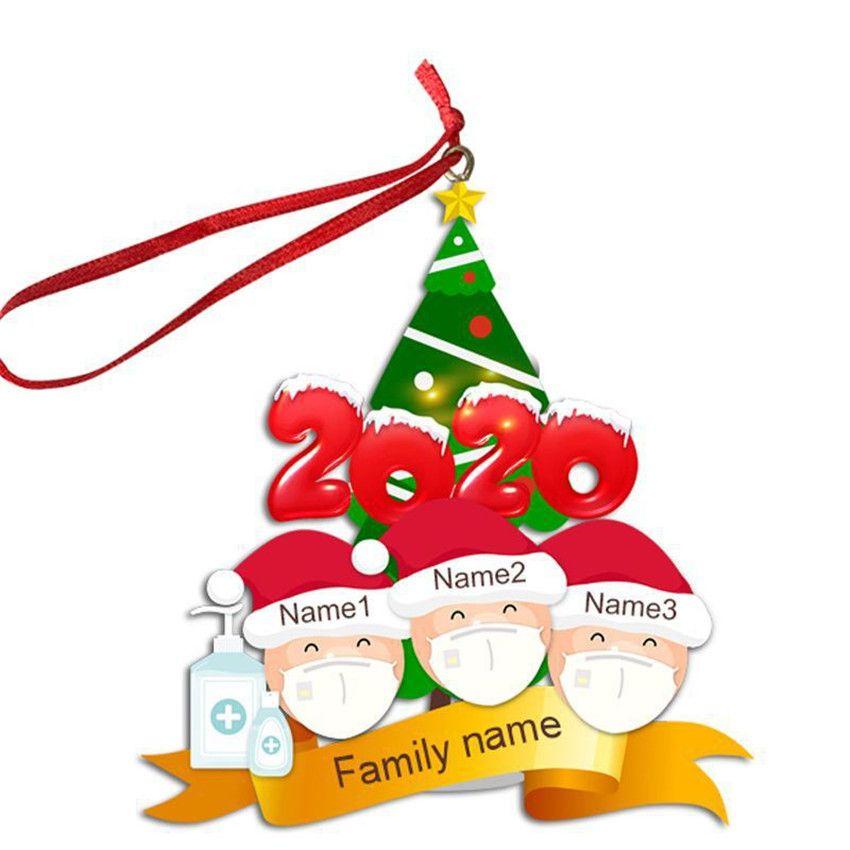 2/3/4/5/6 Face Aile Noel Süs Kişiselleştirilmiş Karantina Noel ağacı pendents Noel Ev Partisi Dekorasyon Hediyelik F91601 Maske