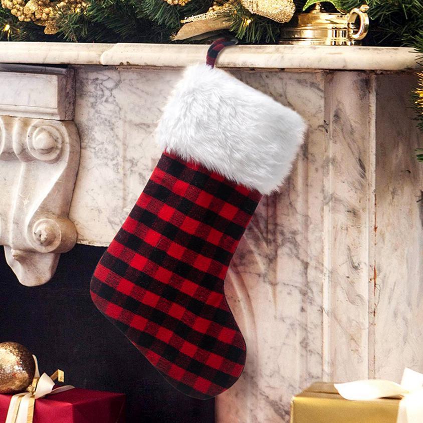 Bolsa de navidad a cuadros a cuadros cyz2777 medias navidad navidad santa caramelo calcetines claus bolsas decoraciones regalos ornamentarias medias 8 gewfn